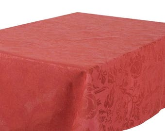 Red Linen TABLECLOTH - Botanic Pattern - made in Europe