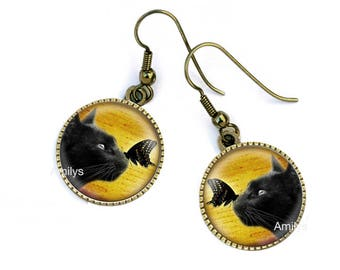 Black cats and butterflies on earrings, mother's day