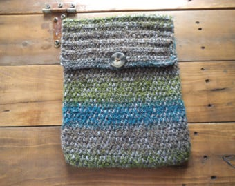 Handmade Crocheted Netbook Laptop Sleeve with Button Grey Green Blue