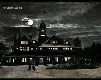 Belle Isle Postcard Casino Moonlight Women Walking Portland ME PC