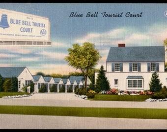 Blue Bell Tourist Court Postcard Aberdeen Maryland Billboard Inset Cottages MD PC