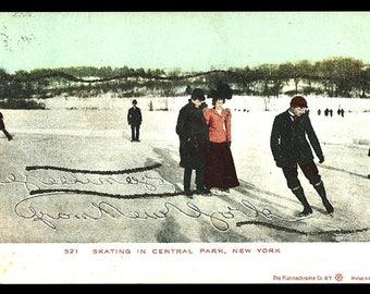 Skating NY 1906 Postcard Greetings from New York Central Park Glitter NY PC