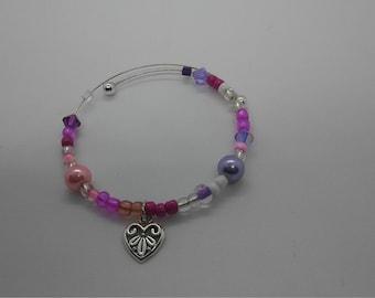 Memory Wire Beaded Bracelet w/ Charm