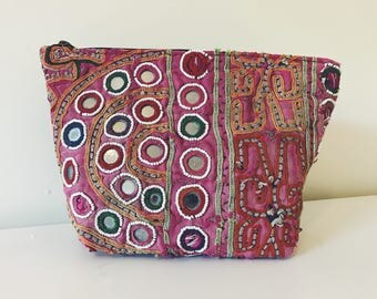 Hand Embroidered Rajasthani Gujarati Make Up Toiletry Bag
