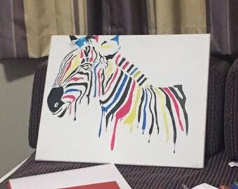 Coloured Zebra Painting