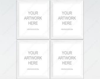 Four Frame Mockup, 4 White Frames, 4 Frame Mockup Set, White Frame Mockup, White Background, Wall Art Mockups, 4 Mock-up, Scandinavian