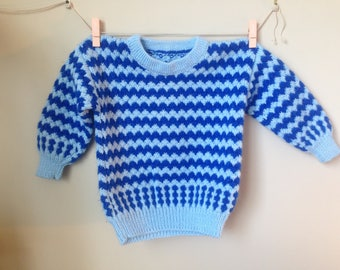 Vintage Hand Knit Blue Chevron Sweater Jumper - Size 2T