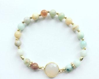 Amazonite chalcedony 925 bracelet gold plated