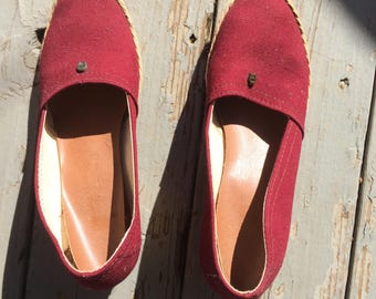 Ettienne Aigner Espadrilles 70s 80s 90s wedges summer shoes festival garden party ready beach babe woven crepe soles maroon