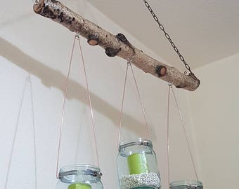 Hanging Lantern decoration Birch branch with 3 lenses, Deckendeko wall decoration natural candle holder