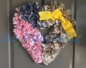 USA Flag and Marine Camo Heart Shaped Wreath