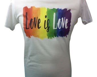 Men's White Gay Pride Love is Love T Shirt