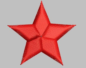 STAR embroidery design digitized file in 5 sizes