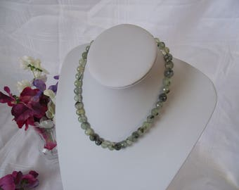 Prehnite Faceted Necklace with Sterling Silver