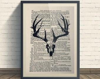 Skull Deer Head - A4 Art Print On Old Book Page, Home, Skulls, Deer Print