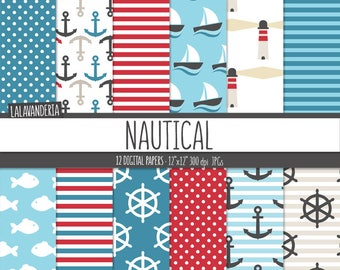 Nautical Digital Paper Pack. Anchor, Rudder, Sailboat, Fish and Lighthouse Patterns. Summer Holydays-Coastal Backgrounds. Digital Scrapbook