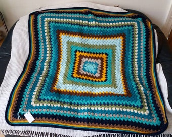 Colourful crochet granny  blanket.