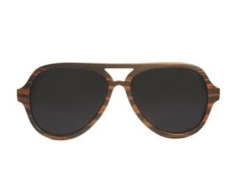 "Wooden sunglasses   Aviator sunglasses   ""MIAMI"" wooden model   Glasses polarized and UV400 category 3 standards"