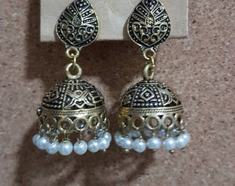 Indian Brass tribal gypsy boho ethnic dangle hippie earrings jhumkis