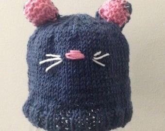 Beanie Baby-Newborn baby Cap-KIT KAT-knitted-ready to ship