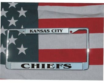 KANSAS CITY CHIEFS Football Chrome Laser Engraved License Plate Frame Free Shipping