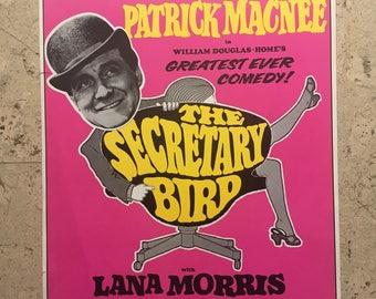 Free shipping.1970s theatre poster. Patrick Macnee. The Secretary Bird.