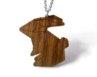 Wooden Origami Necklace - Rabbit