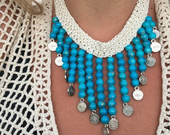Turquoise Bohemian Crochet Beaded Necklace Fringe Necklace Choker