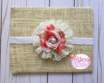 White floral shabby headband bow with lace newborn toddler kids baby girl photo prop birthday cake smash couture pageant