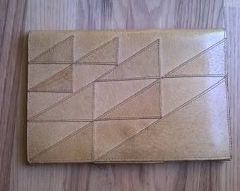 Leather Clutch Beige Patchwork