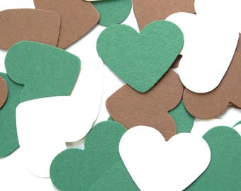 Green, Brown and White Heart Confetti - Natural Wedding Decorations - Heart Confetti