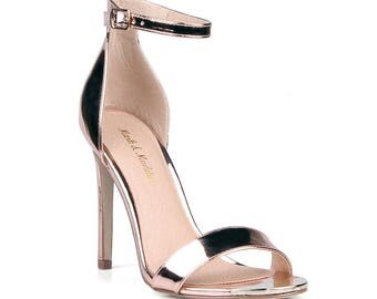 Mark and Maddux Cliff-01 Ankle Strap Women's High Heel Sandals in Rosegold