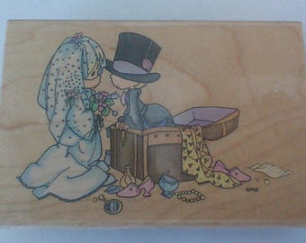 Precious Moments Rubber Stamp, Togetherness Stamp, Wedding Stamp, Large Stamp, Bridal Shower Stamp, Stampendous 1996, Wood Mounted