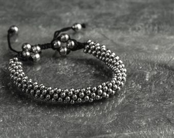 Crowded rock star stainless steel beads sliding knot bracelet