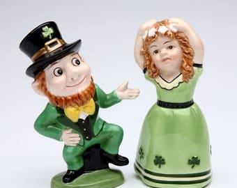 Leprechaun Salt and Pepper Set - Irish Boy and Girl Dancing (41022)