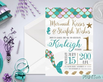 Mermaid Party Invitation, Mermaid First Birthday, Mermaid Invitation
