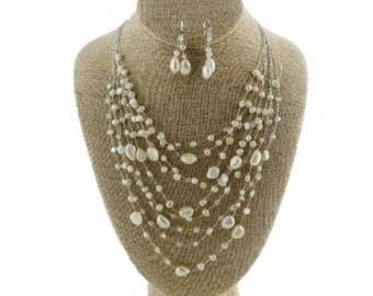Wedding or Special Occasion Necklace Set Pearls