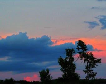evening sky illuminated