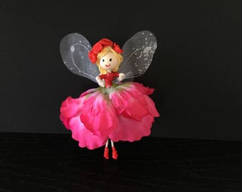 uniquefairyboutique, colourful one off  fairy, pink and red fairy, forever keepsake fairy, miniature fairy, birthday fairy, occasions fairy.