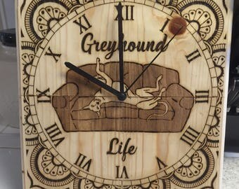 Greyhound wood clock