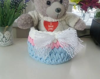 Crocheted baby basket, Nursery basket, baby girl gifts, nappy storage, childs bedroom storage, new baby gift