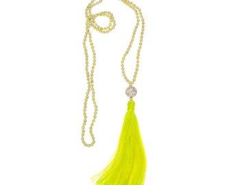 Neon Yellow Tassel Necklace
