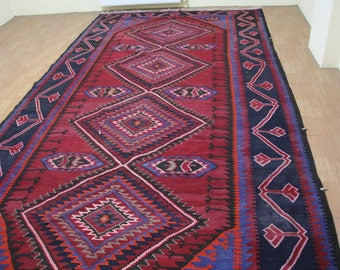 Old Hand Woven Turkish Kilim Traditional Design  Natural Dyes