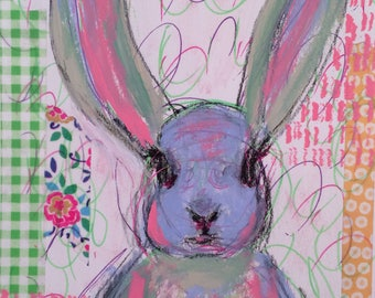 Blue Bunny is a whimsical mixed media painting paper