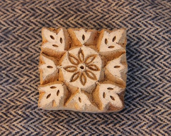 squared flower wooden stamp