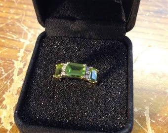 Green CZ 14K ring