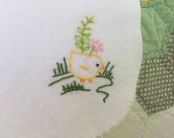 Hand Embroidered Chickie Burp Cloth