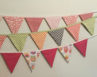 kids baby fabric bunting for the wall or crib, owls, spots