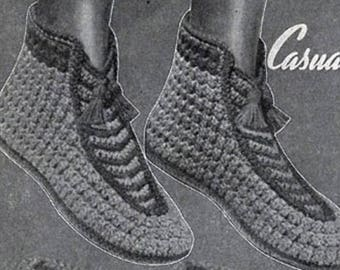 Casual Boot Slippers Pattern , Crochet Pattern, Vintage Pattern, Retro