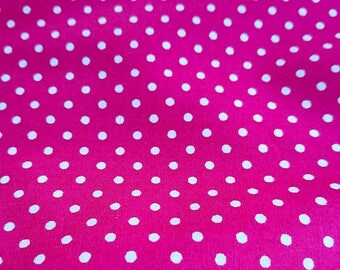 Polka dot fabric, Cotton, Pink spotty fabric, Cerise fabric, cerise spot fabric.